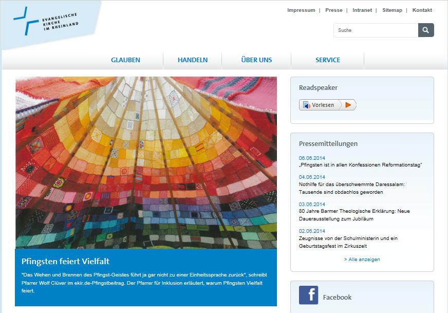 """Webseite der Evangelischen Kirche im Rheinland mit dem Bild vom bunten Tipi-Innenraum und dem Titel: """"Pfingsten feiert Vielfalt""""."""
