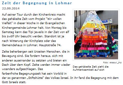 """Text """"Zelt der Begegnung in Lohmar"""", daneben ein Bild vom Zelt."""