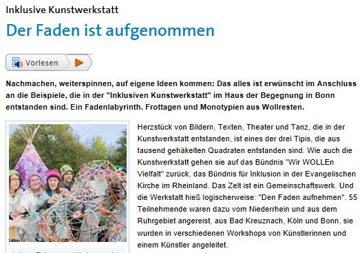 Anfang des Berichtes über die inklusive Kunstwerkstatt auf der EKiR-Webseite.