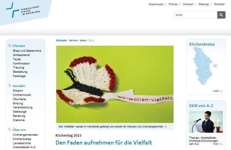 """EKiR-News-Seite mit einem Häkel-Schmetterling und dem Titel """"Den Faden aufnehmen für die Vielfalt""""."""