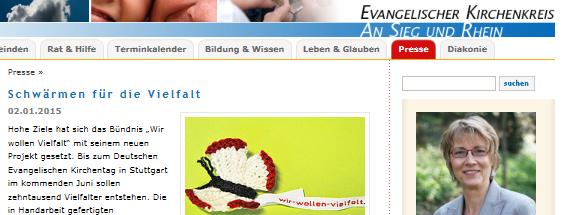 Webseite des Evangelischen Kirchenkreises An Sieg und Rhein mit dem Häkel-Schmetterling.