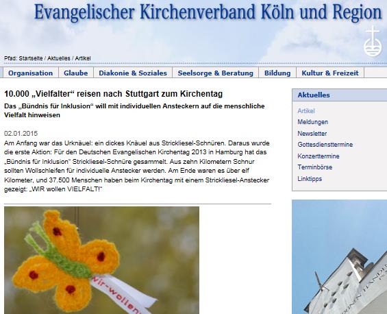Webseite des Evangelischen Kirchenverbandes Köln und Region mit dem Häkel-Schmetterling.
