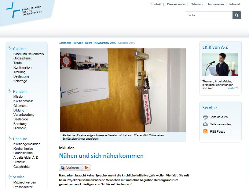"""Ansicht des EKiR-online-Artikels """"Nähen und sich näherkommen"""""""