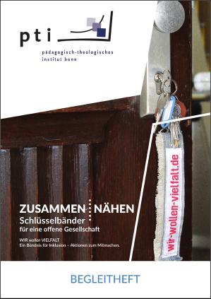 """Titelblatt des Begleitheftes """"zusammen : nähen - Schlüsselbänder für eine offene Gesellschaft"""""""