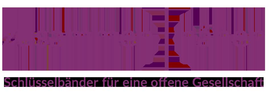 """Logo: """"zusammen : nähen - Schlüsselbänder für eine offene Gesellschaft"""""""