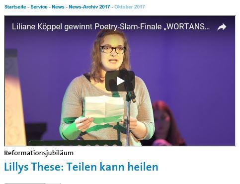 Liane Köppel beim Poetry Slam. Überschrift: Lillys These: Teilen kann heilen