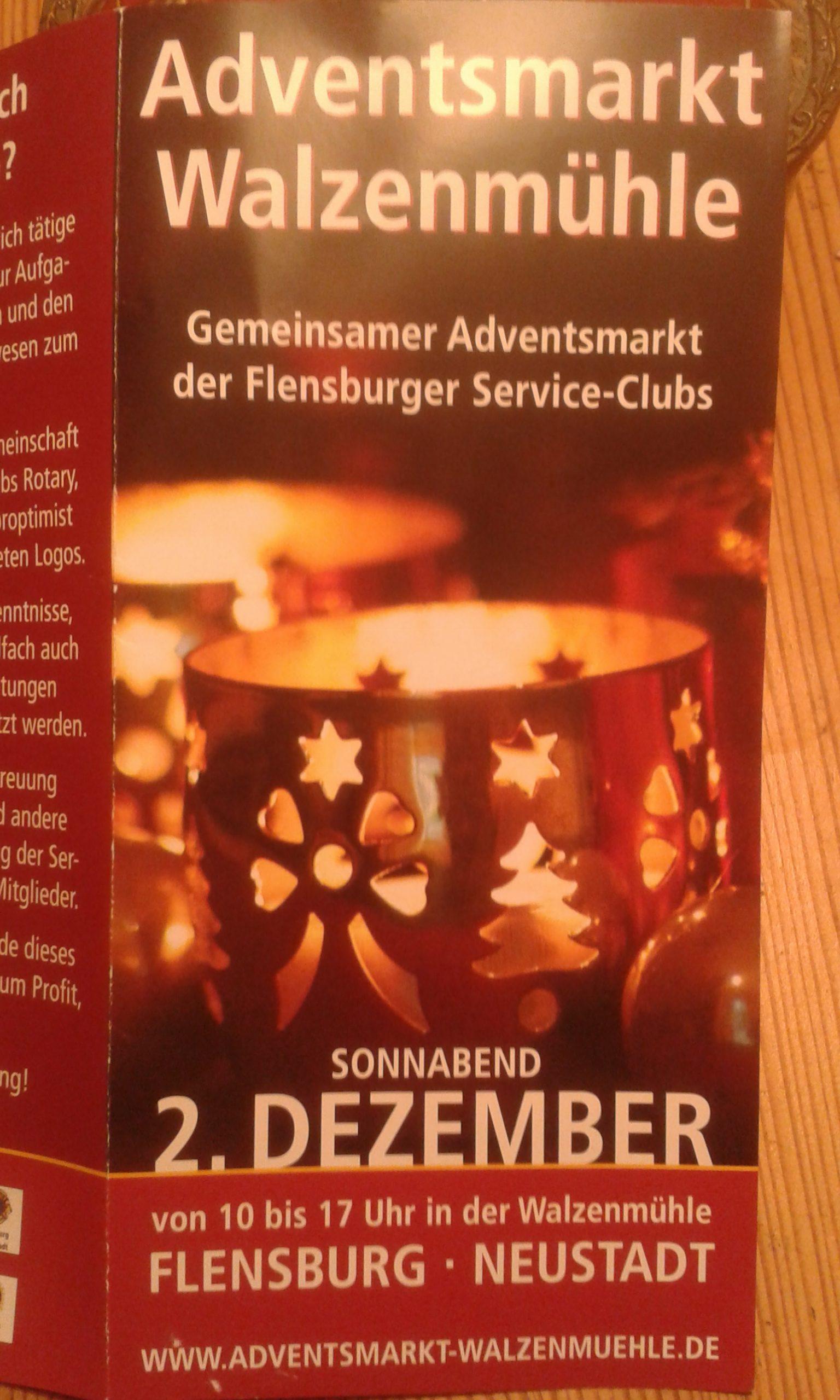 "Faltblatt ""Adventsmarkt Walzenmühle"" Flensburg, 2. Dezember 2017"
